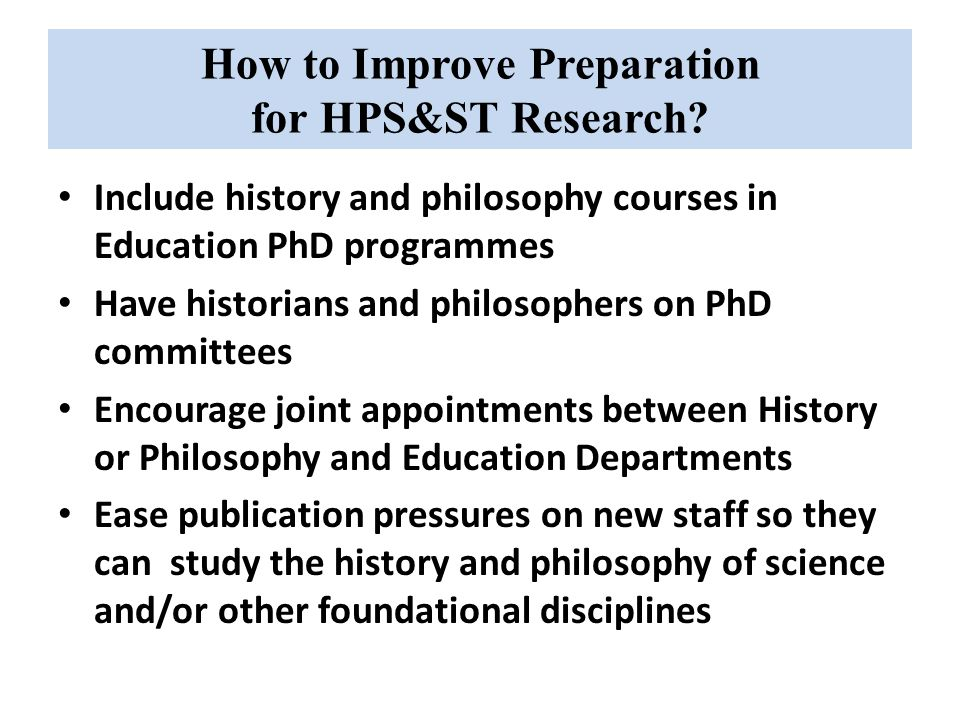 How to Improve Preparation for HPS&ST Research