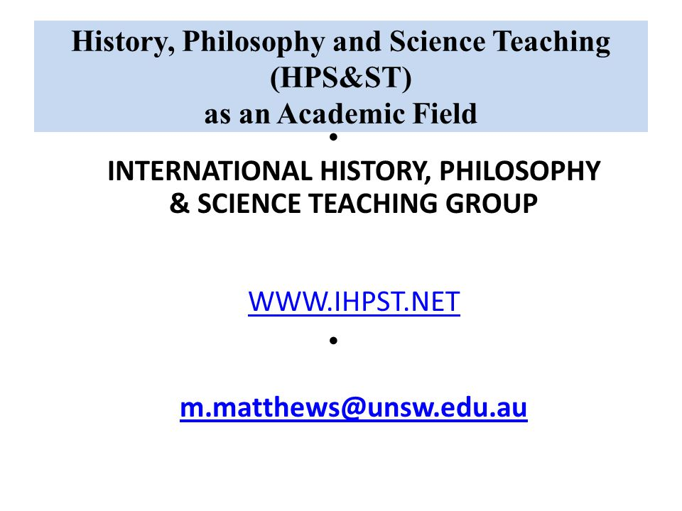 History, Philosophy and Science Teaching (HPS&ST) as an Academic Field