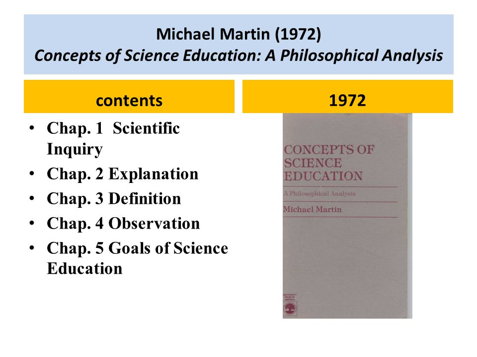 Michael Martin (1972) Concepts of Science Education: A Philosophical Analysis