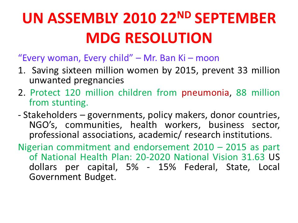 UN ASSEMBLY 2010 22ND SEPTEMBER MDG RESOLUTION