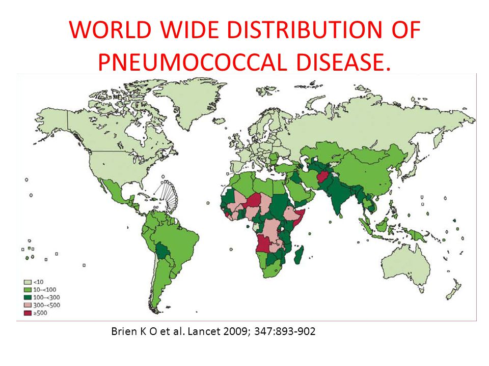 WORLD WIDE DISTRIBUTION OF PNEUMOCOCCAL DISEASE.