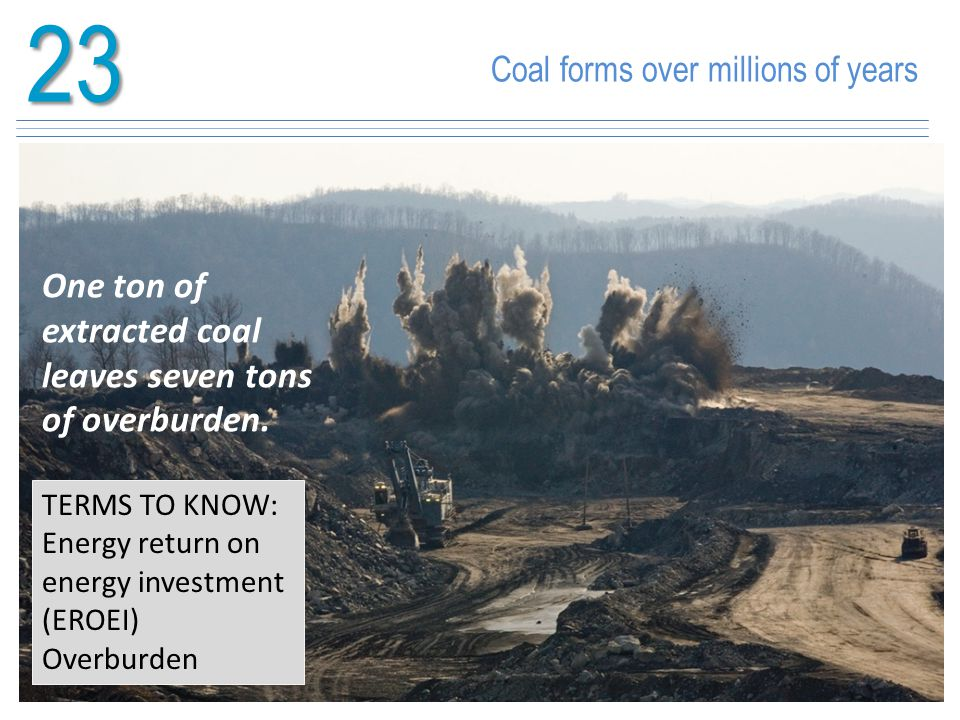 23 One ton of extracted coal leaves seven tons of overburden.