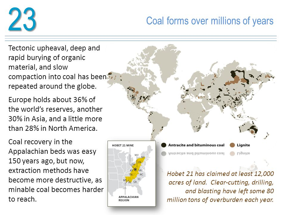 23 Coal forms over millions of years