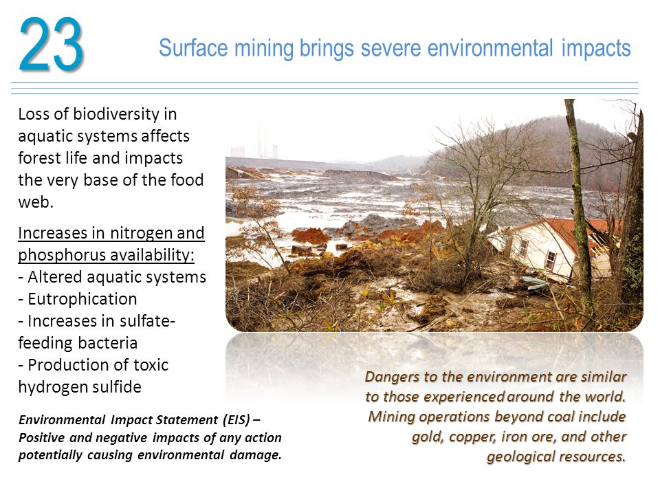 23 Surface mining brings severe environmental impacts
