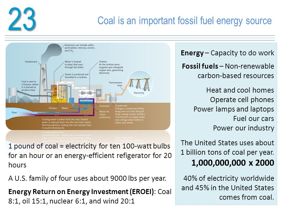 23 Coal is an important fossil fuel energy source 1,000,000,000 x 2000