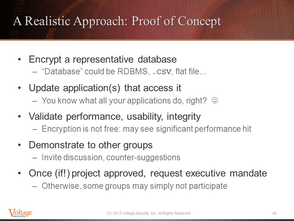A Realistic Approach: Proof of Concept