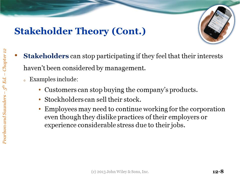 Stakeholder Theory (Cont.)
