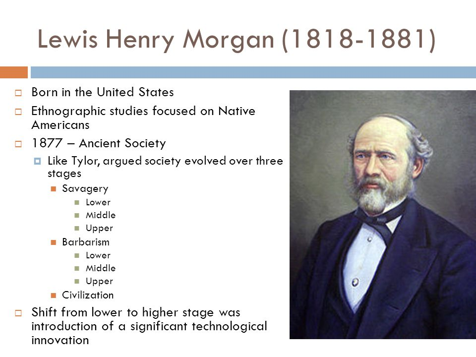 Lewis Henry Morgan (1818-1881) Born in the United States