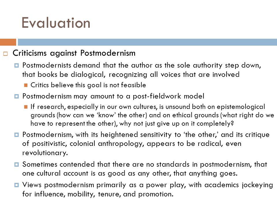 Evaluation Criticisms against Postmodernism
