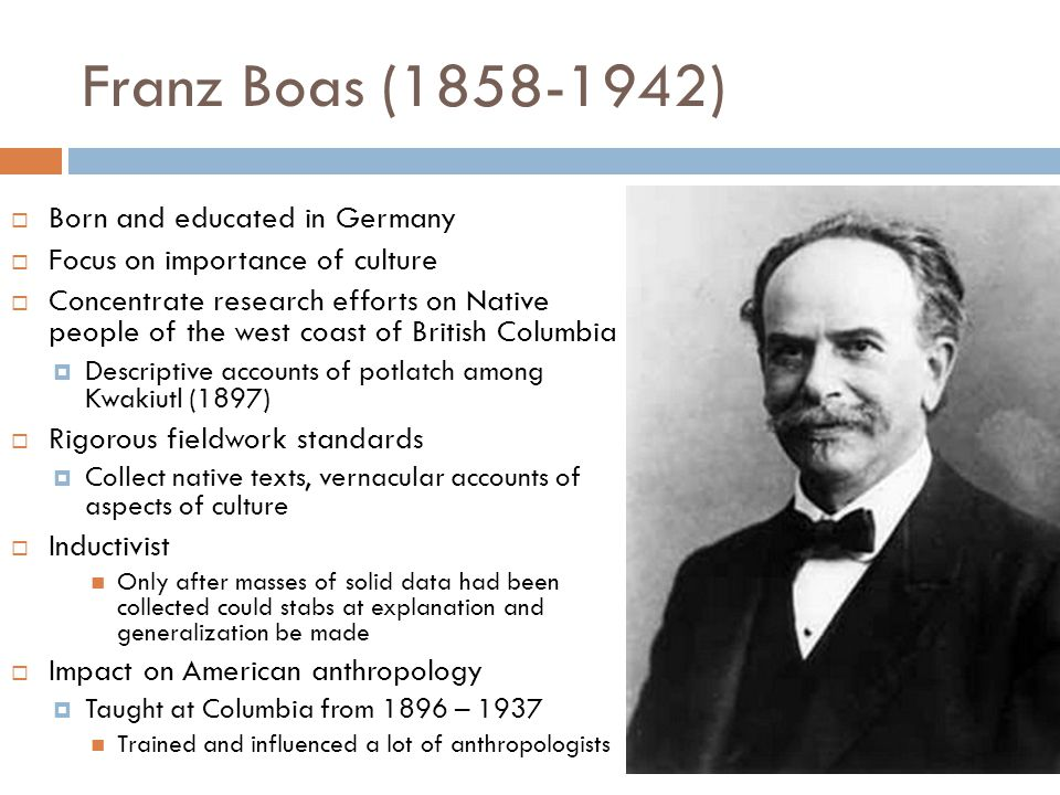 Franz Boas (1858-1942) Born and educated in Germany