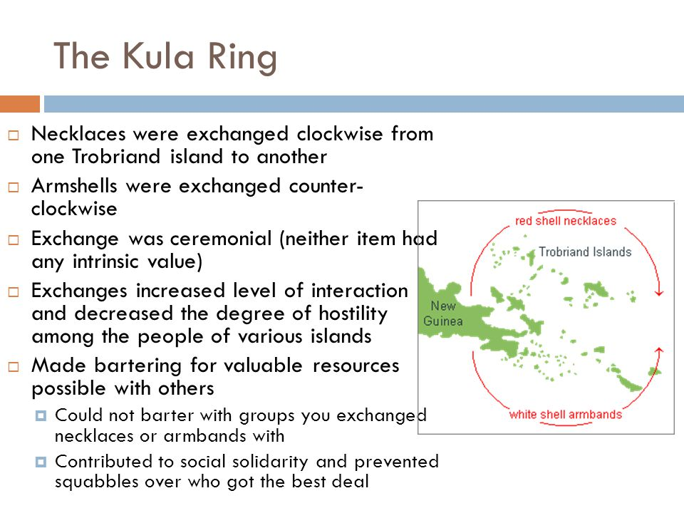 The Kula Ring Necklaces were exchanged clockwise from one Trobriand island to another. Armshells were exchanged counter- clockwise.