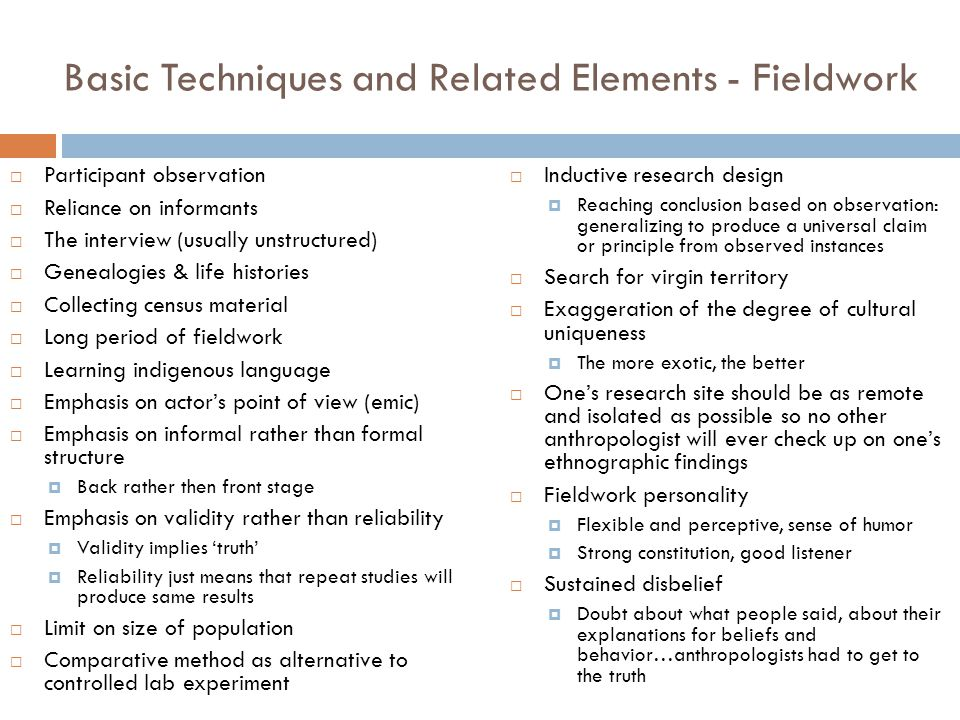 Basic Techniques and Related Elements - Fieldwork