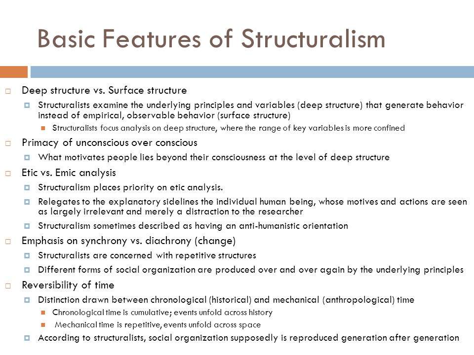 Basic Features of Structuralism