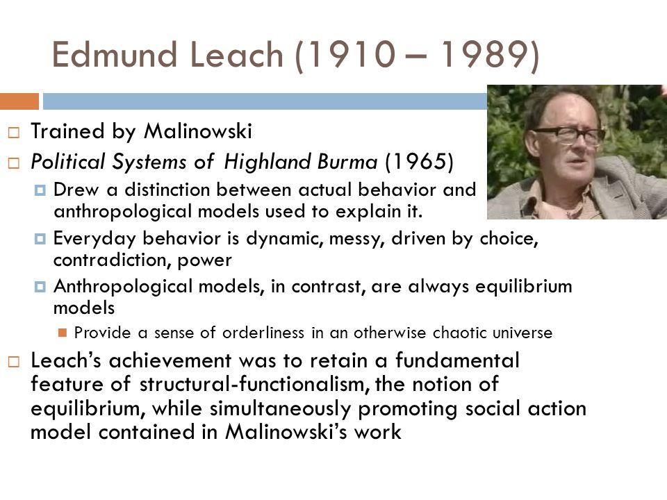 Edmund Leach (1910 – 1989) Trained by Malinowski
