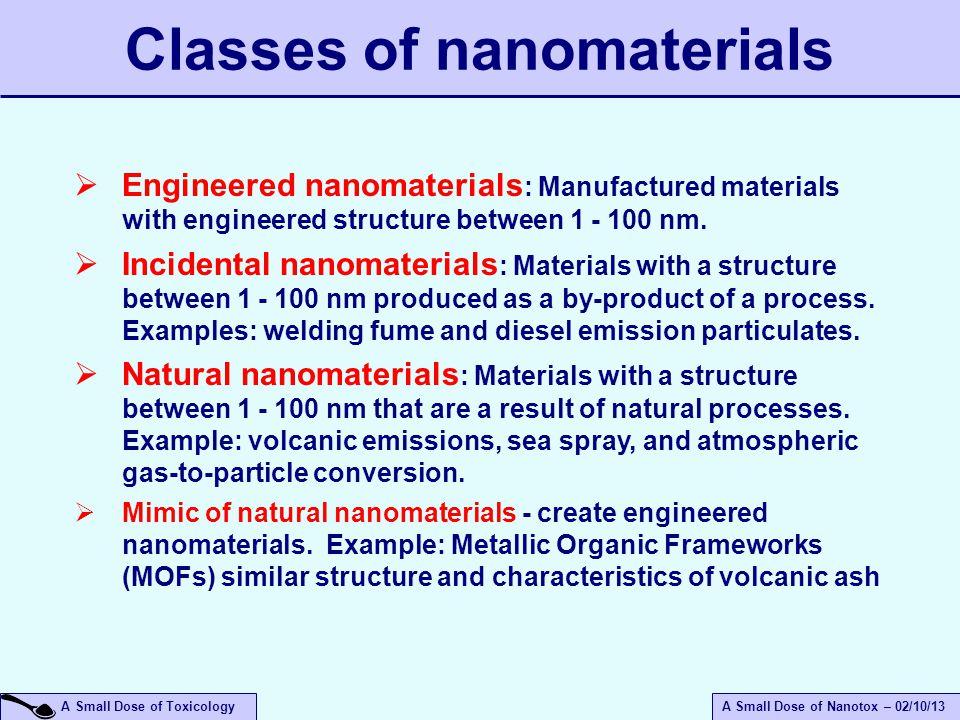 Classes of nanomaterials