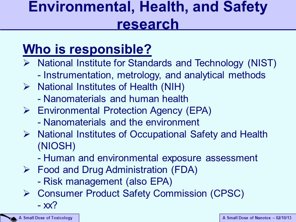 Environmental, Health, and Safety research