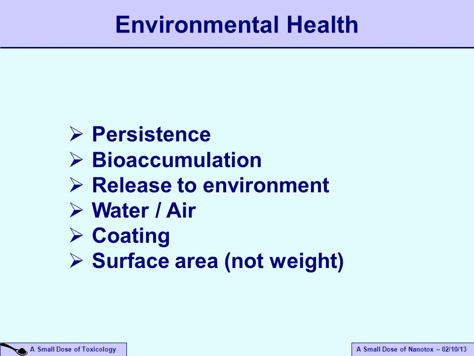Environmental Health Persistence Bioaccumulation