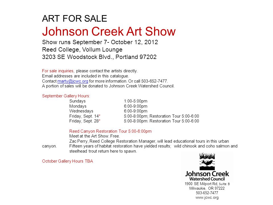 Johnson Creek Art Show ART FOR SALE