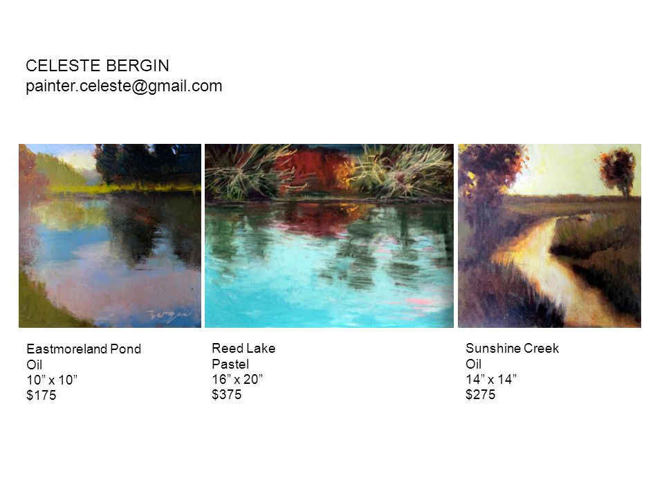 CELESTE BERGIN painter.celeste@gmail.com Eastmoreland Pond Oil