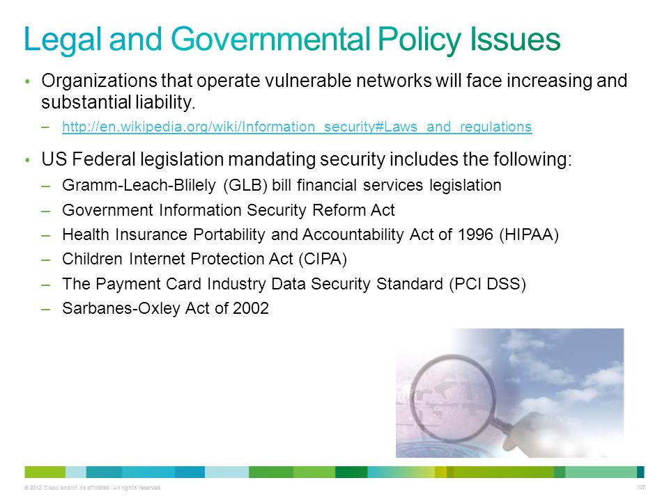 Legal and Governmental Policy Issues