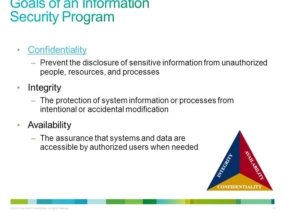 Goals of an Information Security Program