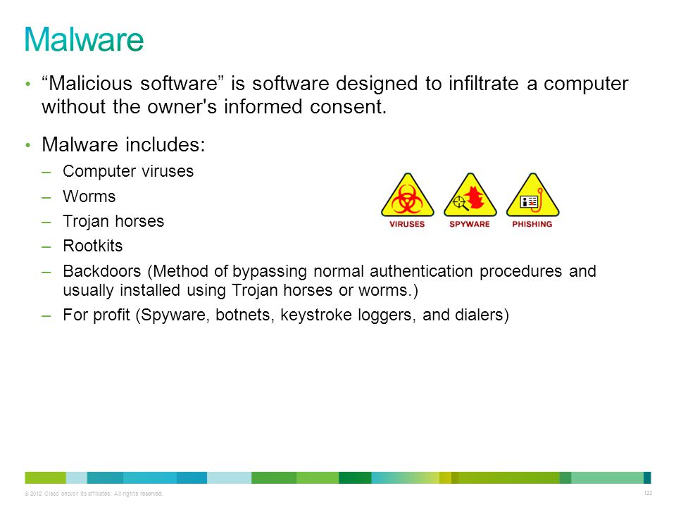 Malware Malicious software is software designed to infiltrate a computer without the owner s informed consent.