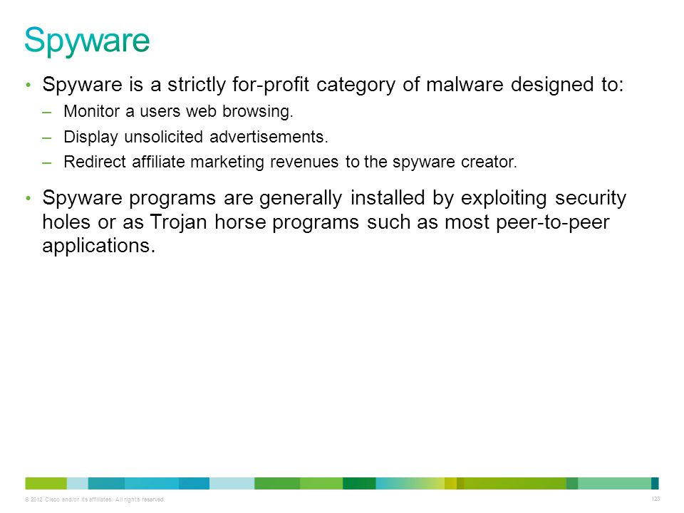 Spyware Spyware is a strictly for-profit category of malware designed to: Monitor a users web browsing.