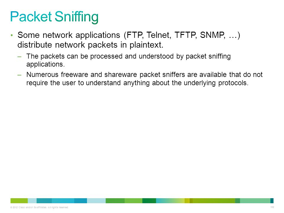 Packet Sniffing Some network applications (FTP, Telnet, TFTP, SNMP, …) distribute network packets in plaintext.