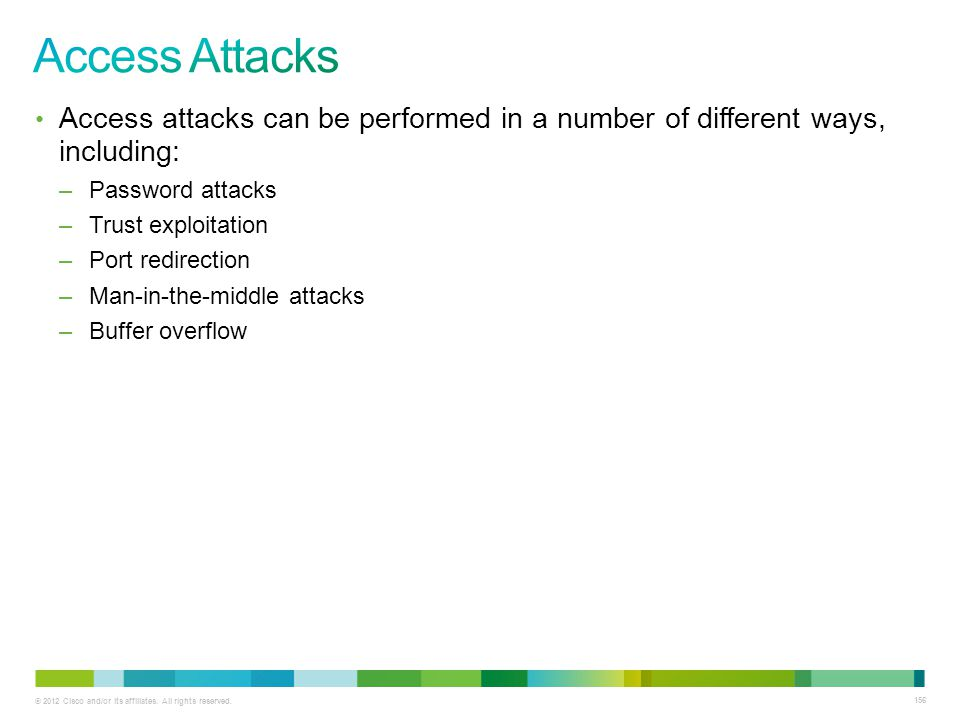 Access Attacks Access attacks can be performed in a number of different ways, including: Password attacks.