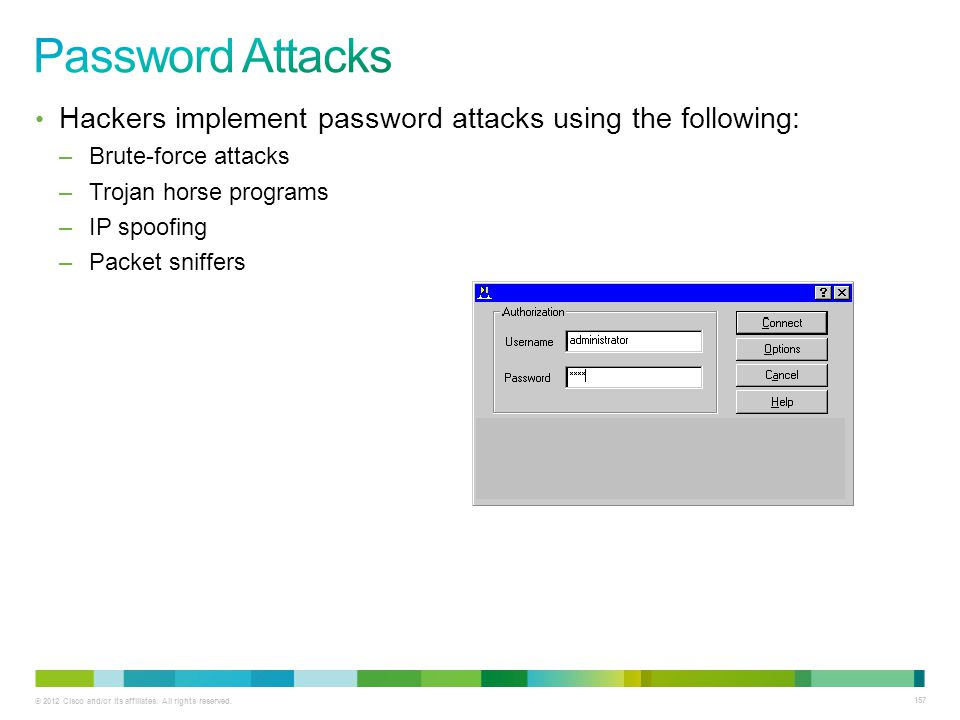 Password Attacks Hackers implement password attacks using the following: Brute-force attacks. Trojan horse programs.