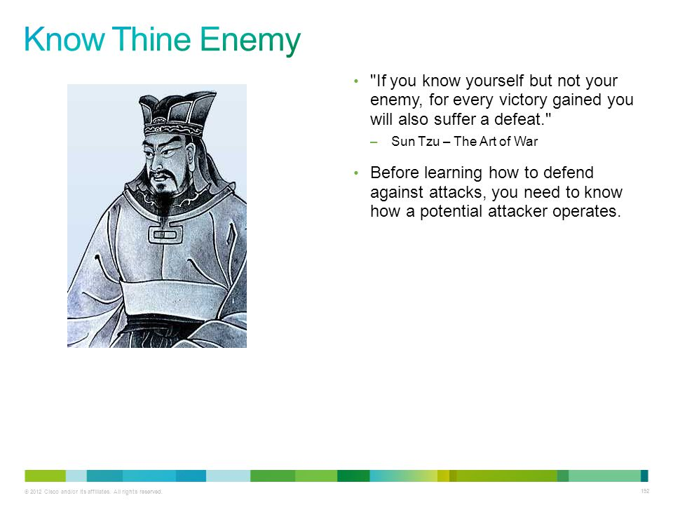Know Thine Enemy If you know yourself but not your enemy, for every victory gained you will also suffer a defeat.