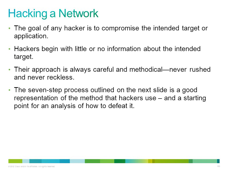 Hacking a Network The goal of any hacker is to compromise the intended target or application.
