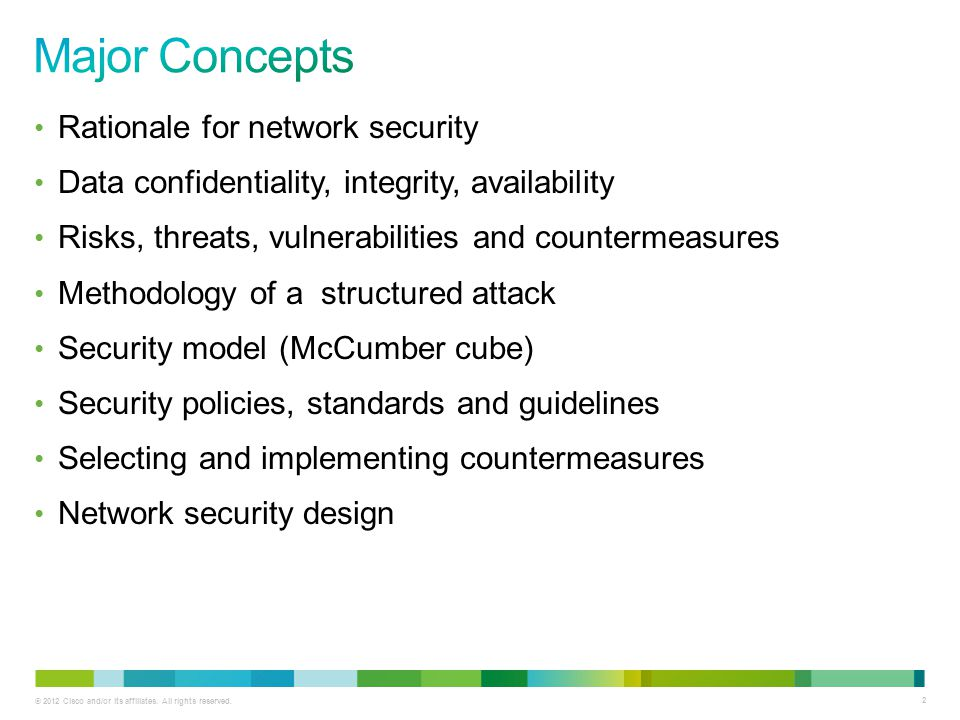 Major Concepts Rationale for network security