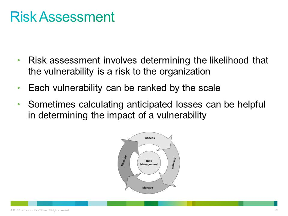 Risk Assessment Risk assessment involves determining the likelihood that the vulnerability is a risk to the organization.