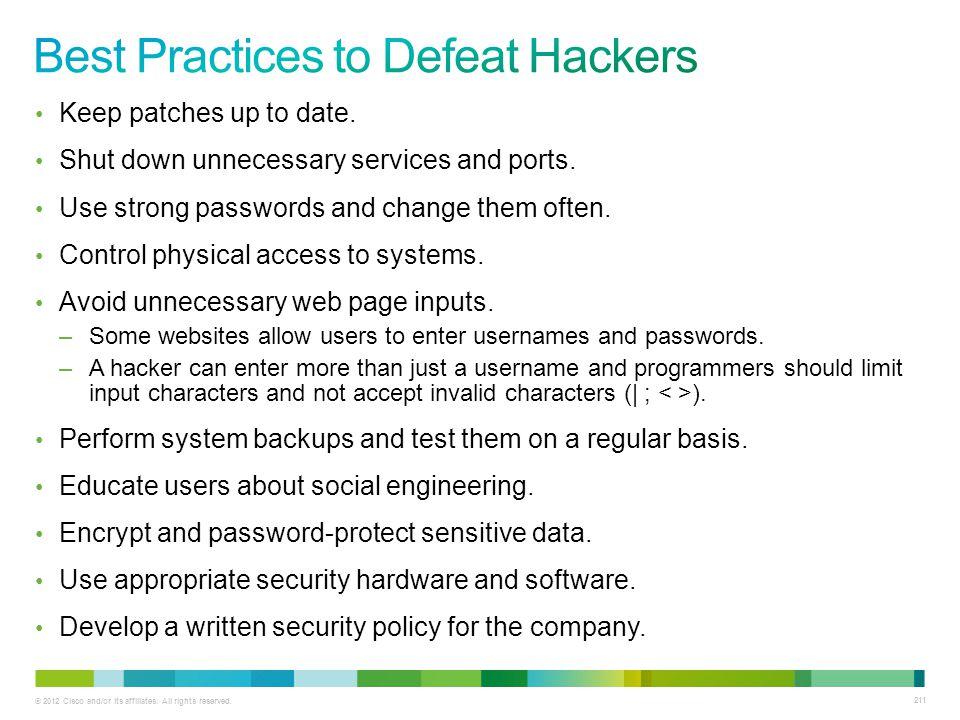 Best Practices to Defeat Hackers