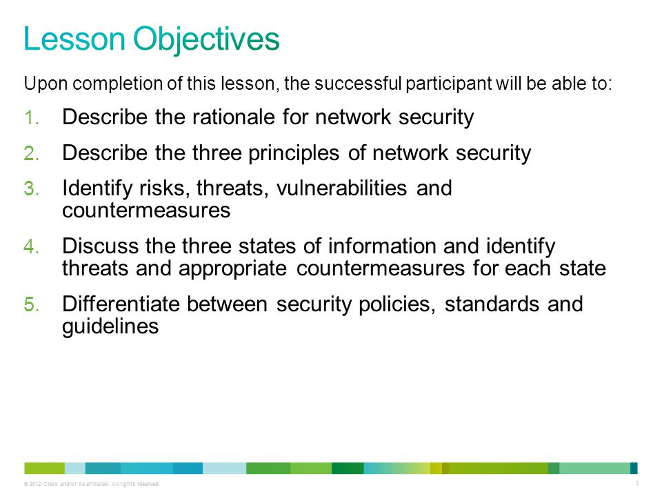 Lesson Objectives Describe the rationale for network security