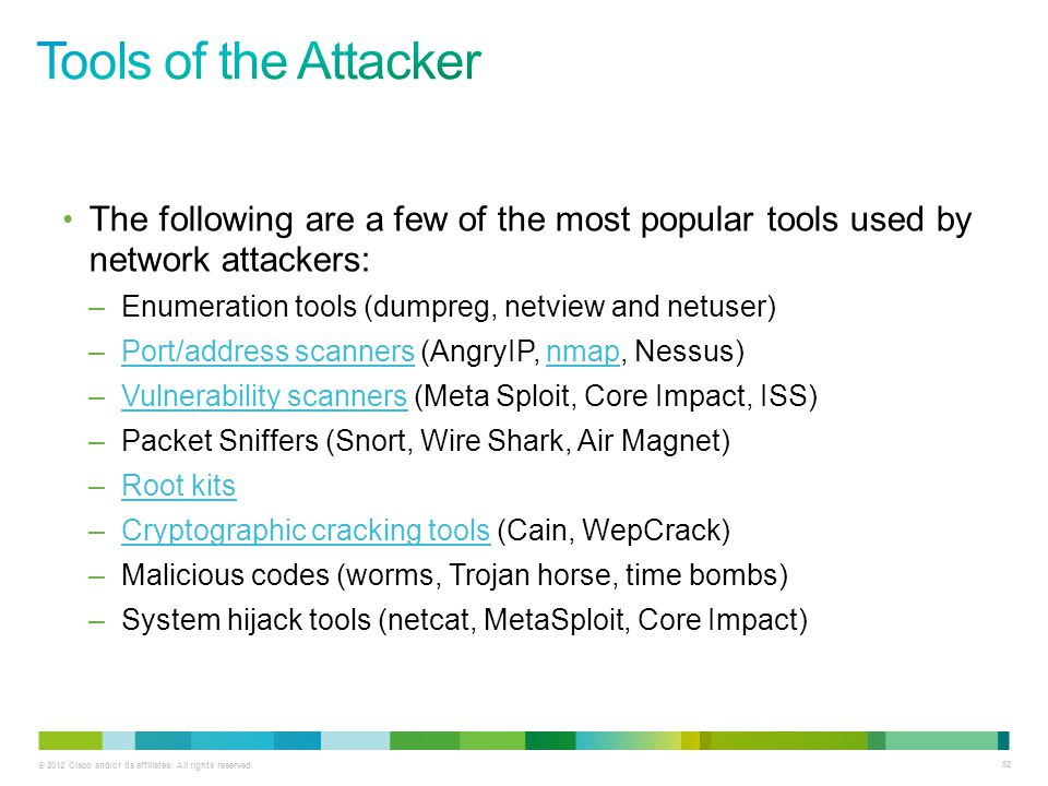 Tools of the Attacker The following are a few of the most popular tools used by network attackers: