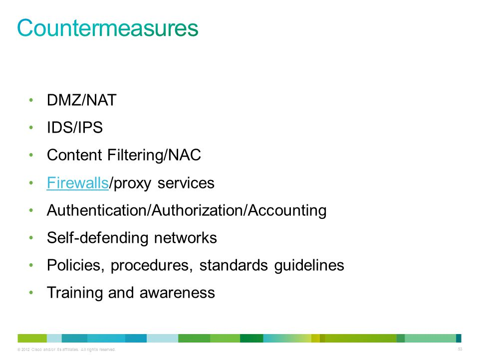 Countermeasures DMZ/NAT IDS/IPS Content Filtering/NAC
