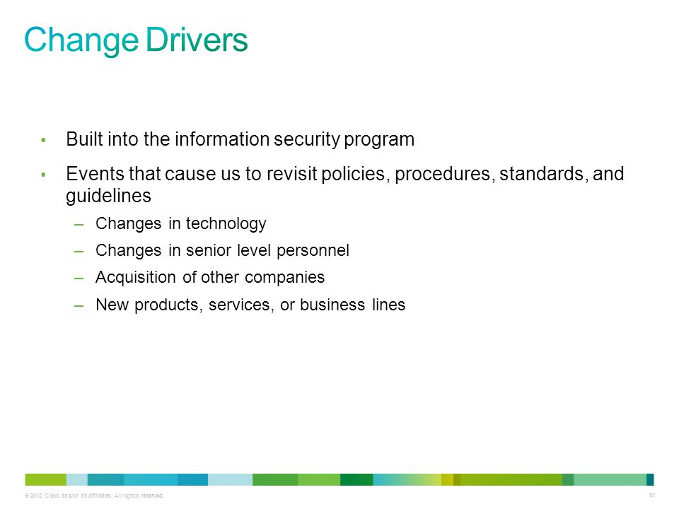 Change Drivers Built into the information security program