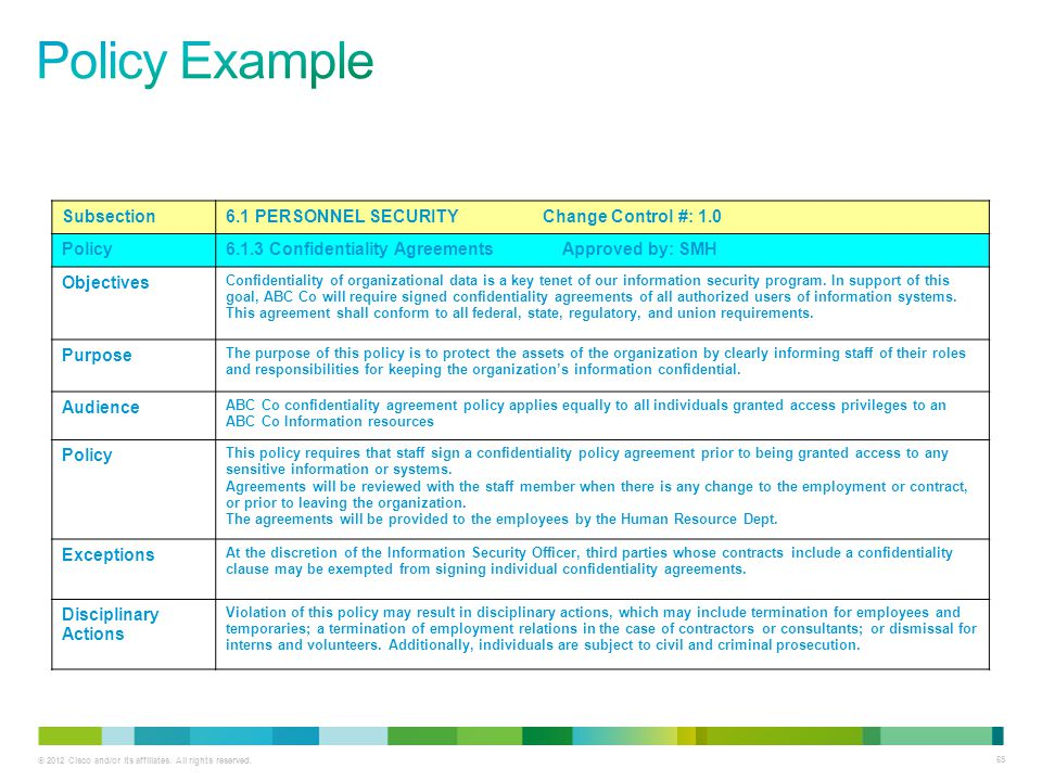 Policy Example Subsection 6.1 PERSONNEL SECURITY Change Control #: 1.0
