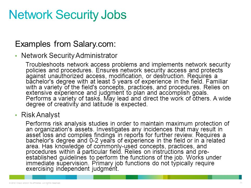 Network Security Jobs Examples from Salary.com: