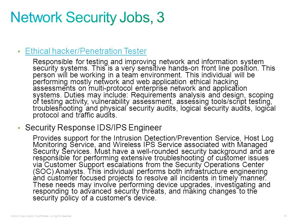 Network Security Jobs, 3 Ethical hacker/Penetration Tester