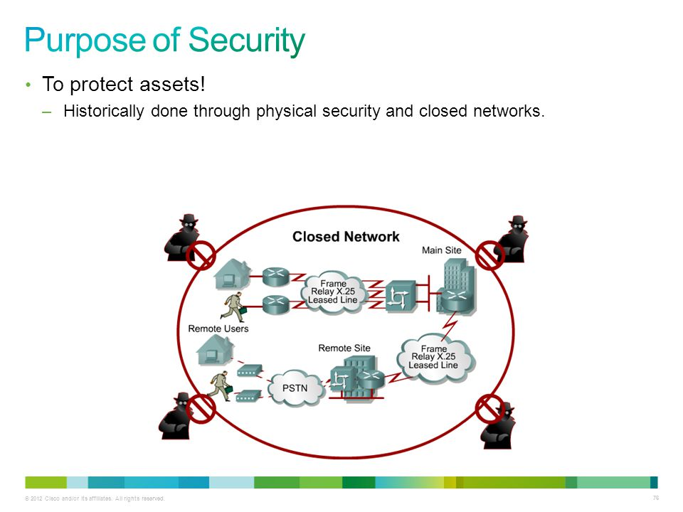 Purpose of Security To protect assets!