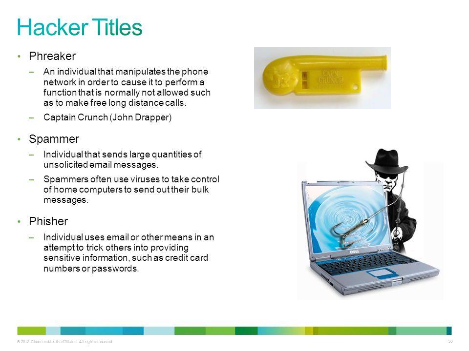 Hacker Titles Phreaker Spammer Phisher