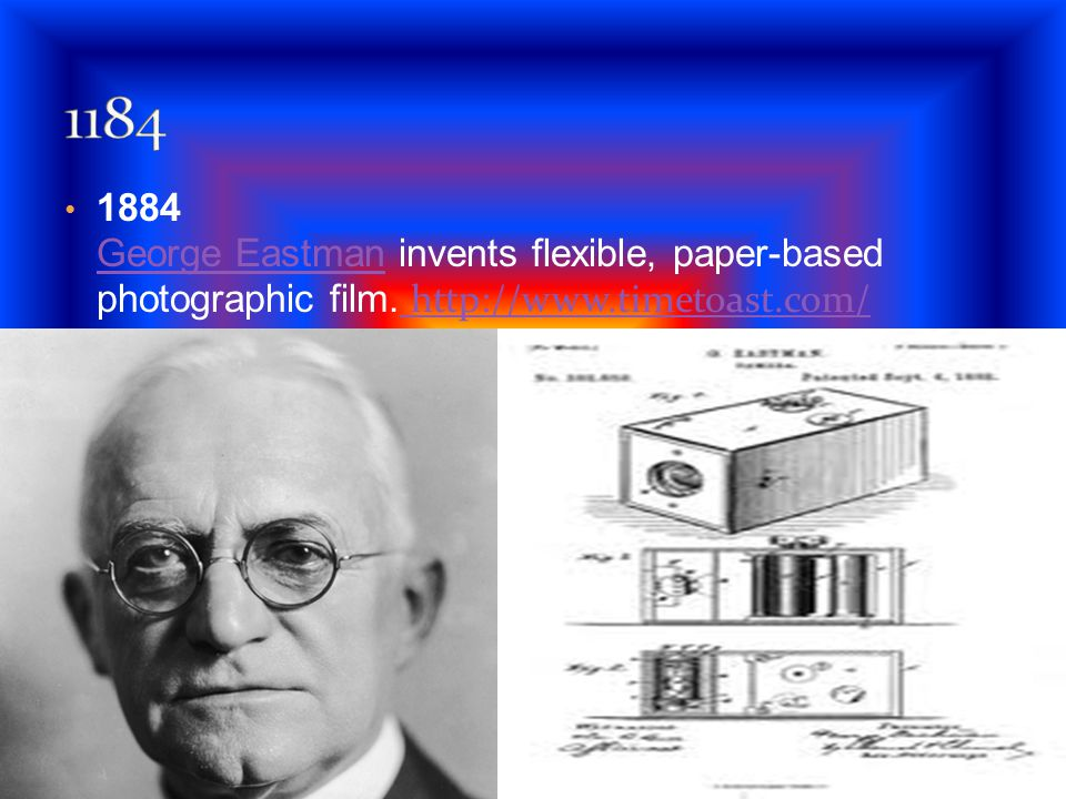 1184 1884 George Eastman invents flexible, paper-based photographic film.