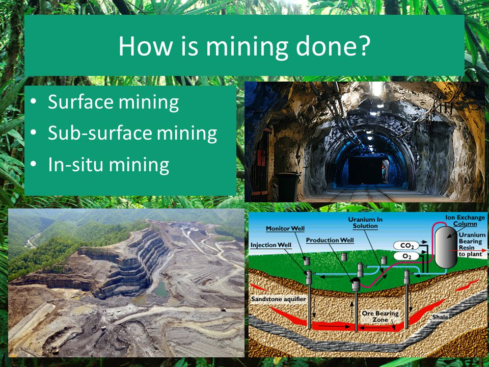 How is mining done Surface mining Sub-surface mining In-situ mining