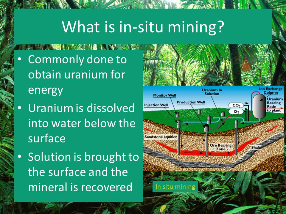 What is in-situ mining Commonly done to obtain uranium for energy