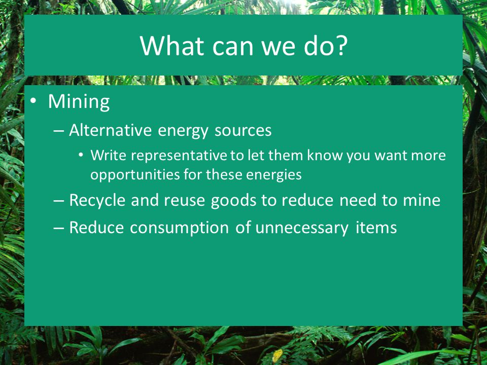 What can we do Mining Alternative energy sources