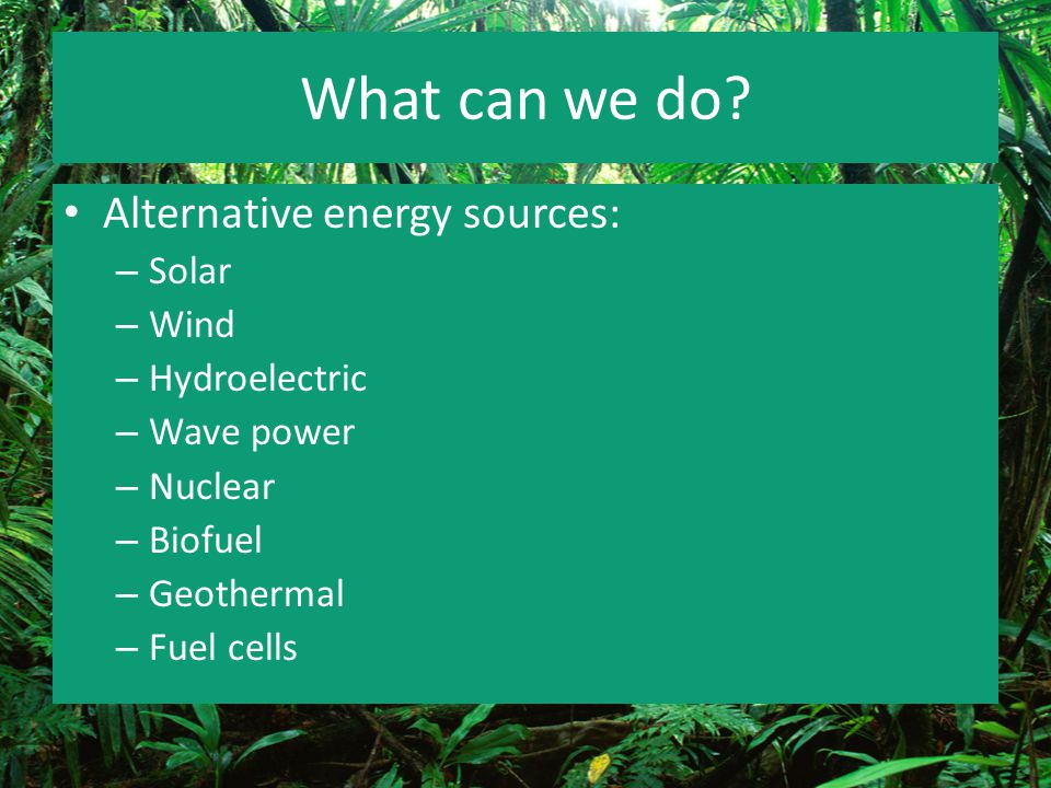What can we do Alternative energy sources: Solar Wind Hydroelectric