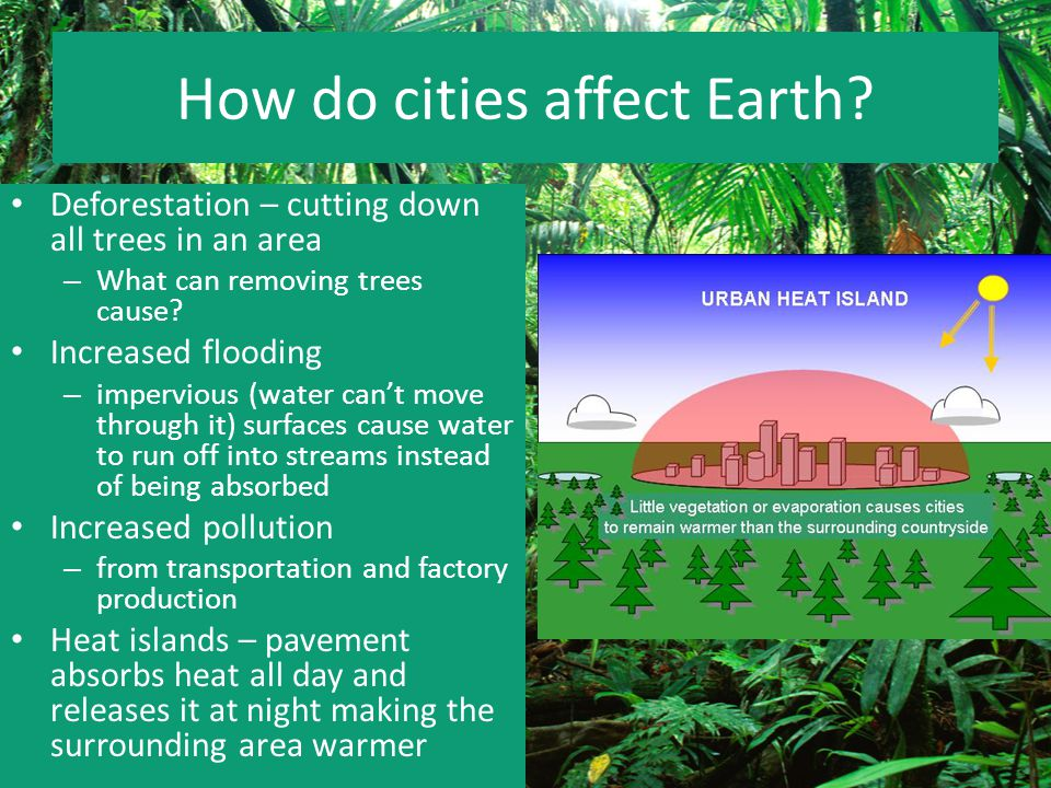 How do cities affect Earth